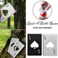 1pc Portable Stainless Steel Spade A Bottle Opener Poker-Shaped Playing Cards For Beer Bottle Opener Throwing And Cutting