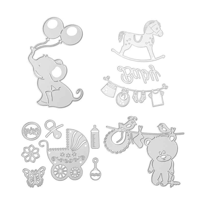 Cartoon Cutting Dies Stencils DIY Scrapbooking Embossing Dies for Baby Shower Decoration Baby Carriage Elephant Dies Template