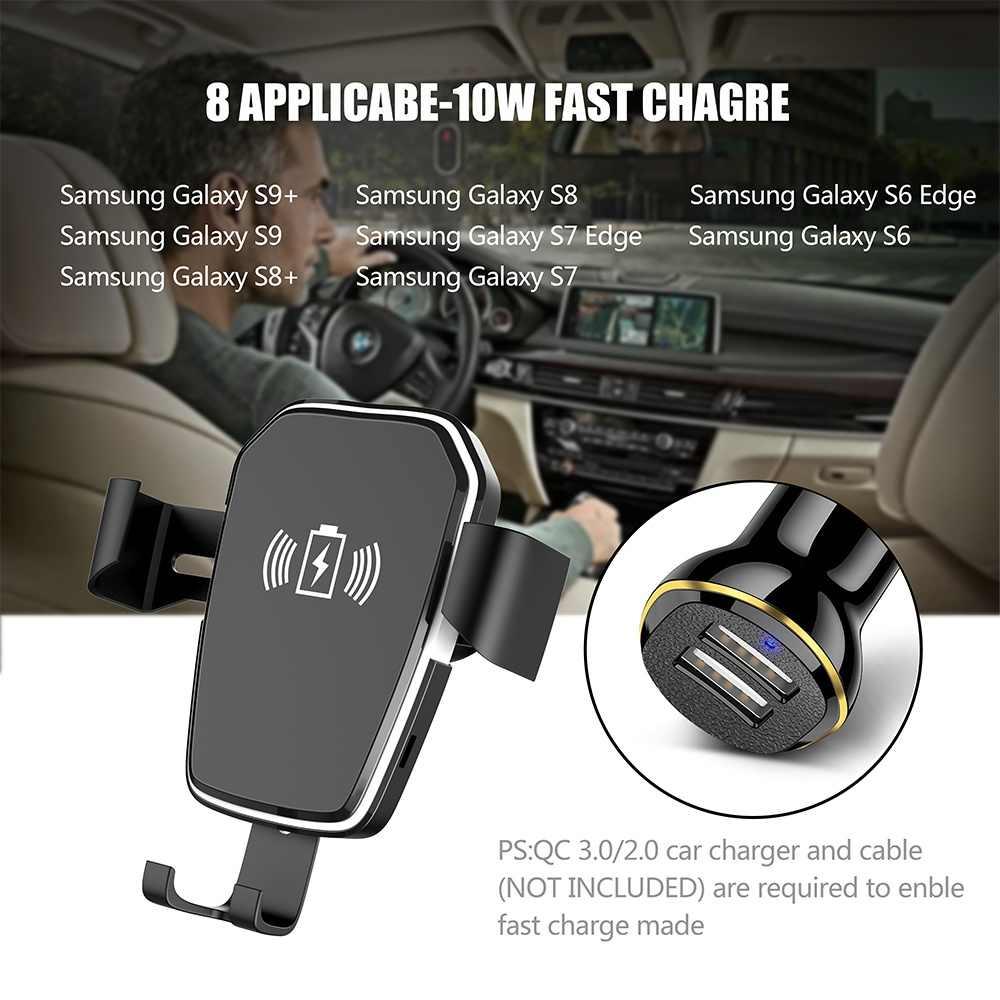 Caseier Qi Wireless Charger untuk iPhone X XR 8 X Max Pengisian Cepat Ventilasi Udara Mobil untuk Samsung S9 s8 Plus S7 Dudukan Telepon Mobil