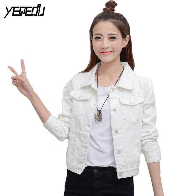 d72d6d6cfc #5306 Spring Autumn White/Black Denim Jacket Women Fashion Slim Fit Ripped  Jeans Vintage Jackets Femme 6 color White/Black/Pink