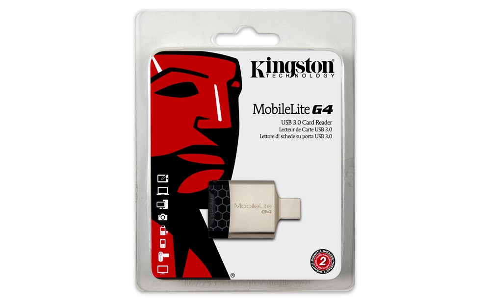 Kingston Technology MobileLite G4, MicroSD (TransFlash), MicroSDHC, MicroSDXC, SD, SDHC, SDXC, USB 3.0, Black, Grey, Metal, Wind
