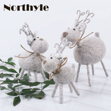 DH wool reindeer christmas figurine decoration xmas  miniatures decorations for home navidad gift ornaments
