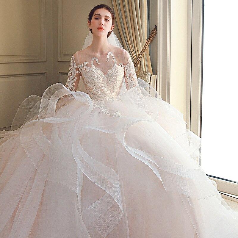 White/Ivory Lace Bandage Wedding Dress  Half Sleeve Wedding Dresses Tiered Royal Train Sexy Backless Bride Gown Mingli Tengda