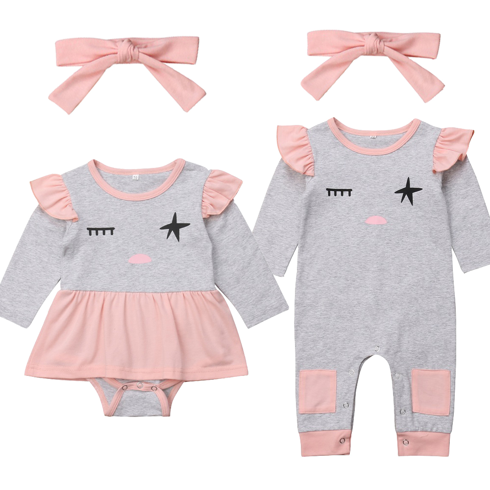 Pudcoco 2PCS Toddler Infant Newborn Baby Girls Long Sleeves Romper+Bow Headband Jumpsuit  Outfits Clothes Set