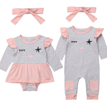 Pudcoco 2PCS Toddler Infant Newborn Baby Girls Long Sleeves Romper+Bow Headband Jumpsuit  Outfits Clothes Set pudcoco cute newborn kids baby girl infant lace romper dress jumpsuit playsuit clothes outfits