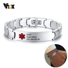 8584332df0d2 Vnox gratis personalizado hombre de alerta médica pulseras de identificación  cadena de enlace de acero inoxidable Diabetes epile.