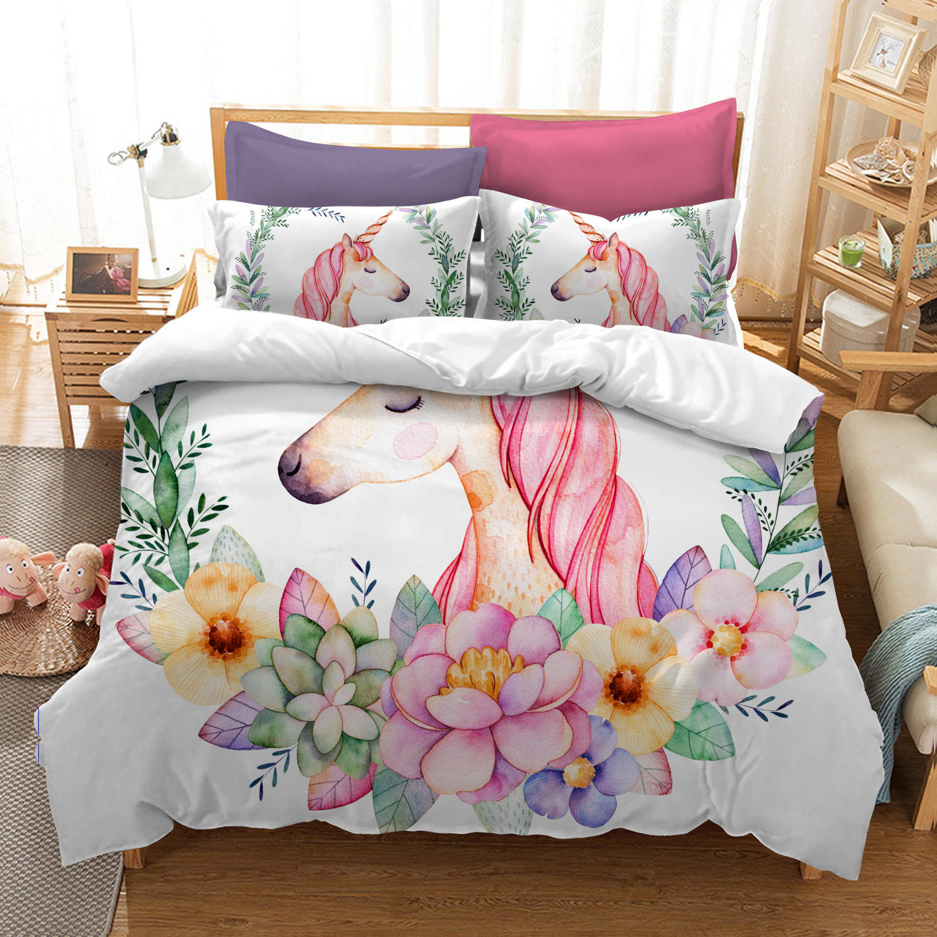 Акварель Единорог Цифровой Печати набор постельных принадлежностей одеяло крышка дизайнерская кровать комплект в богемном стиле mini Van постельное белье 4 шт. BE1229