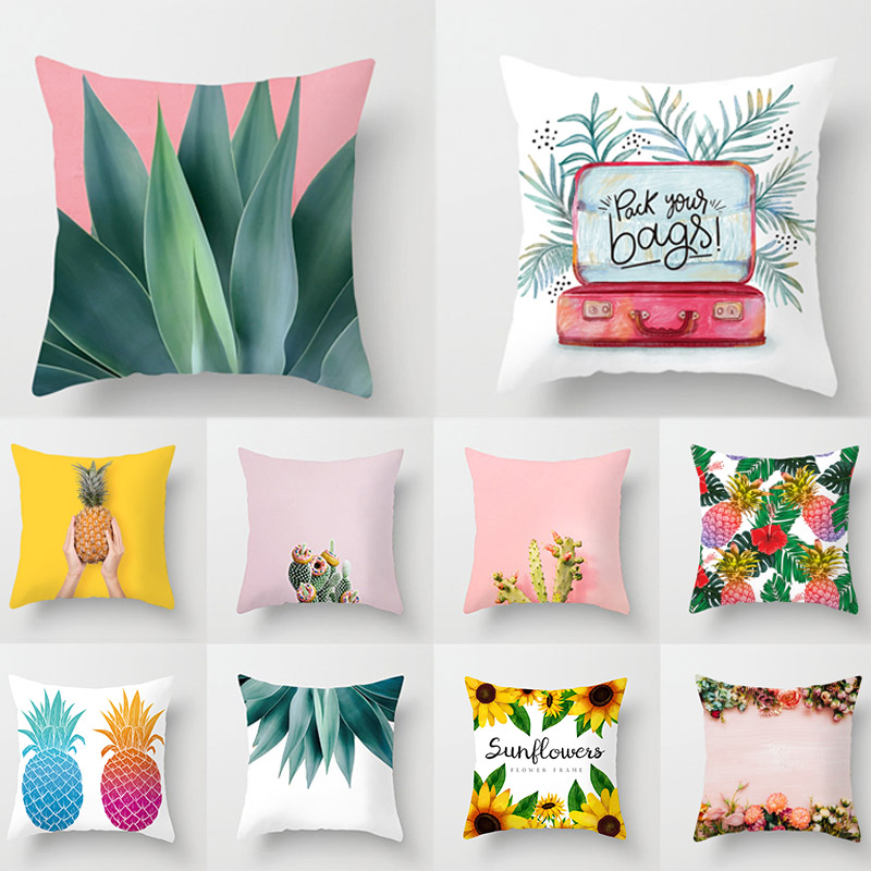 Popular Plant Decorative Pillow Case Cactus Home  Bedroom Polyester Hot Sale  Home Textile  1PC