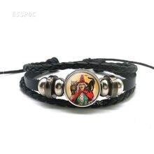 Женский кожаный плетеный браслет wicked witch с совой стеклянный