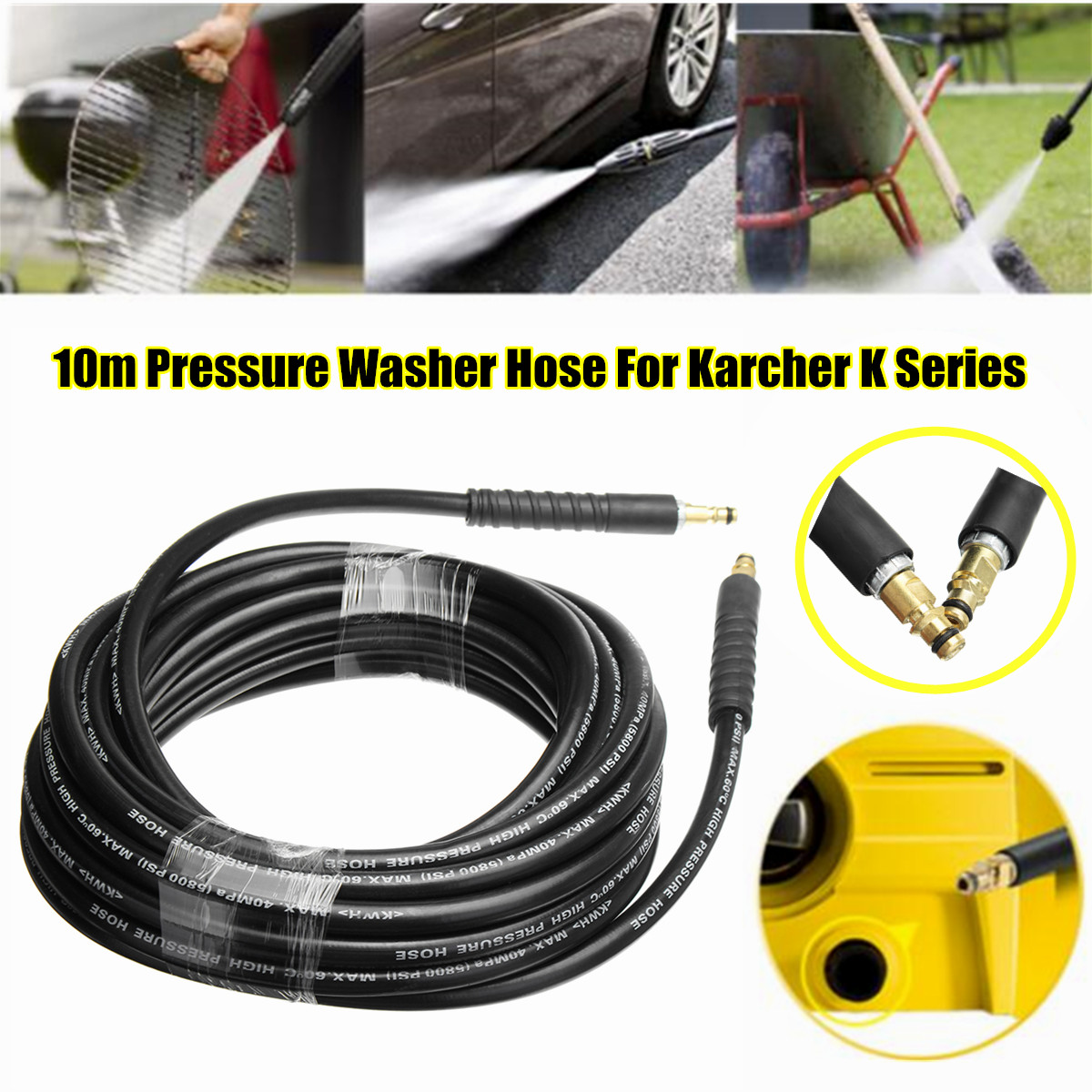 New 10m High Pressure Washer Water Cleaning Hose Pure Copper for K K2 K3 K4 K5 Car Wash