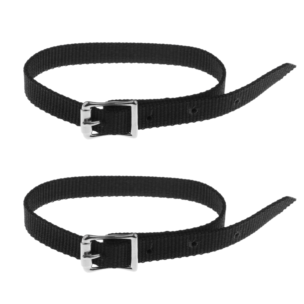 45cm Thickened PP Alloy Buckle Weaved English Spurs Straps Western Horse Riding Equestrian - Black