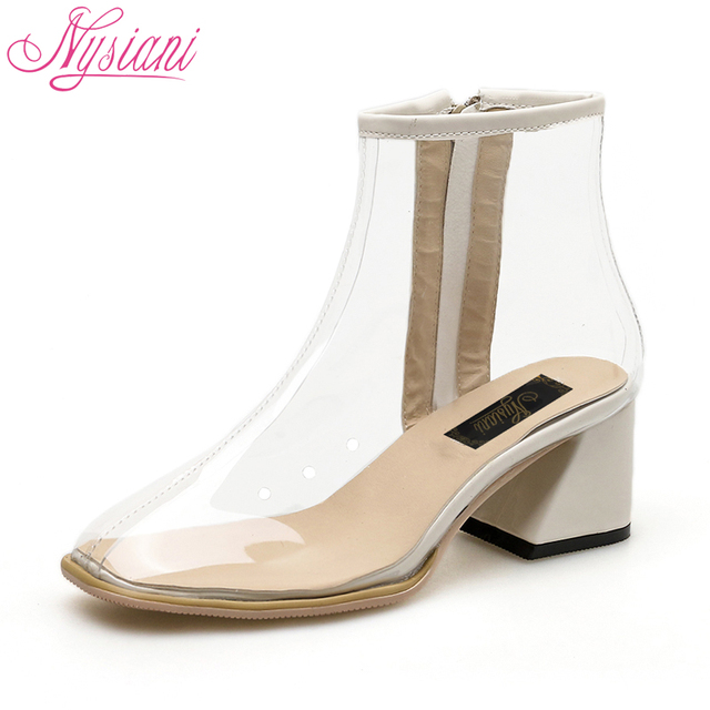 2018 Women High Heels Transparent Ankle Boots PVC Round Toe Autumn New Fashion Thick Heels Short Boots High Quality Nysiani