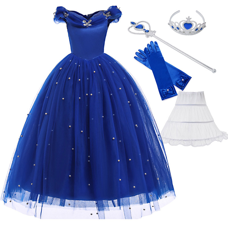 Fancy Princess Blue Party Dress for Girls Ankle Length Off Shoulder Pearls Ball Gown Kids Halloween Cosplay Cinderella Clothing