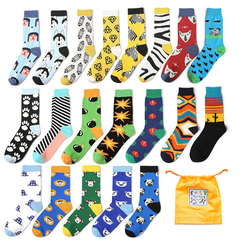 2019 New Style Mens Fashion Printed Cartoon Animal Crocodile Shark Zebra Dog Robot Skateboard Colorful Socks Soft Comfortable Stockings Underwear & Sleepwears