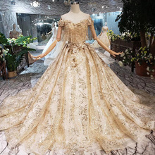 Luxury Dew shoulder Wedding Dress Gold Embroidery Tassel Beads Lace Appliqued Shinning Sequined Gown