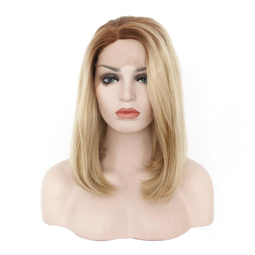 Synthetic Lace Front Wigs Ombre Blonde Natural Wave Short Bob Wigs Shoulder Length Deep Invisible Side L Part Wig For WomenSynthetic Lace Front Wigs Ombre Blonde Natural Wave Short Bob Wigs Shoulder Length Deep Invisible Side L Part Wig For Women