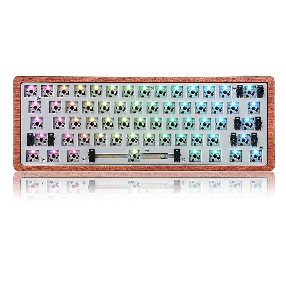 [Version de caisse en bois] Geek personnalisé GK61 remplaçable à chaud 60% RGB clavier Kit personnalisé plaque de montage PCB