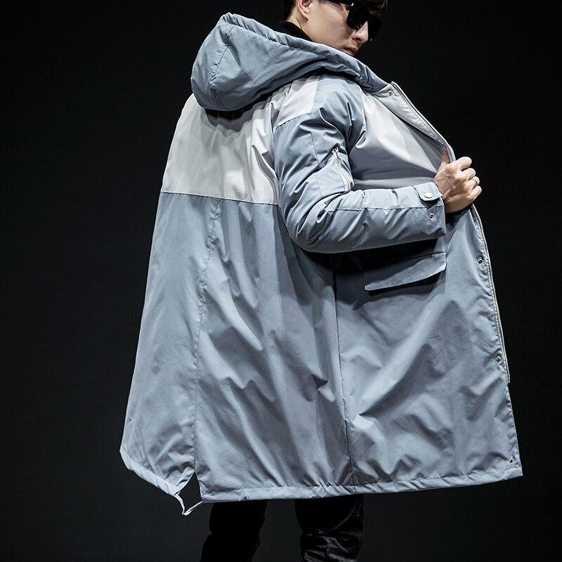 2018 зимняя длинная шапка с хлопковой подкладкой, одежда в Корейском стиле, утолщенные большие размеры, для мужчин, повседневное Свободное па...