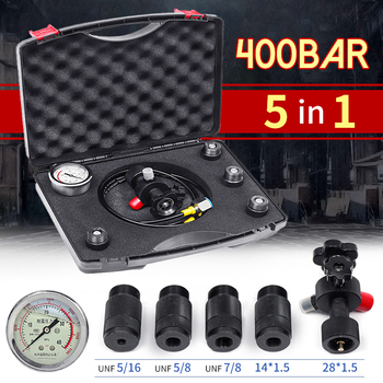 0-400Bar 6000Psi Pressure Gauges Test Kit Set Hydraulic Accumulator Nitrogen Charging Fill Gas Valve Five Type Adapter