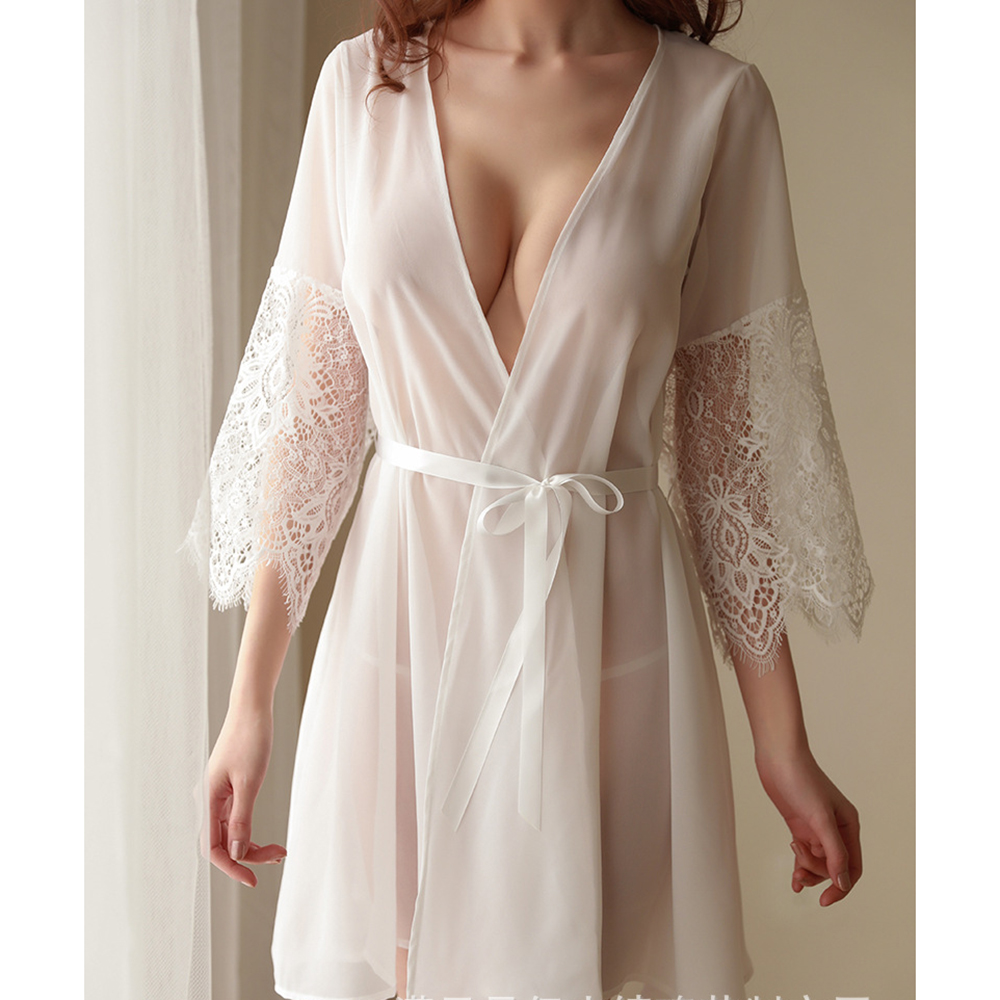 One Size Fashion Women Sexy Mesh Night Skirt Robe Lace Long Sleeve Cardigan Nightgown Set Home Dress White Robes