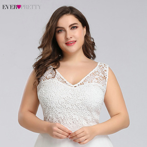 Image 5 - Ever pretty Plus Size Lace Wedding Dresses A Line Floor Length Sleeveless Illusion Elegant Wedding Gown 2020 Vestido De Noiva