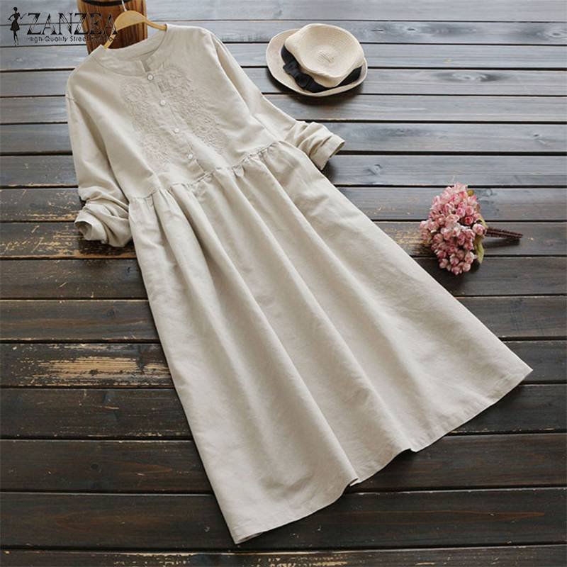 2019 ZANZEA Spring Women Long Shirt Dress Elegant Embroidery Long Sleeve Dresses Vintage Solid Cotton Linen Vestido Robe Femme