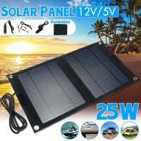 LEORY Portable 25W Folding Solar Cells Charger Outdoor Foldable Solar Panel Charger Mobile Power Bank for Phone Battery USB Port