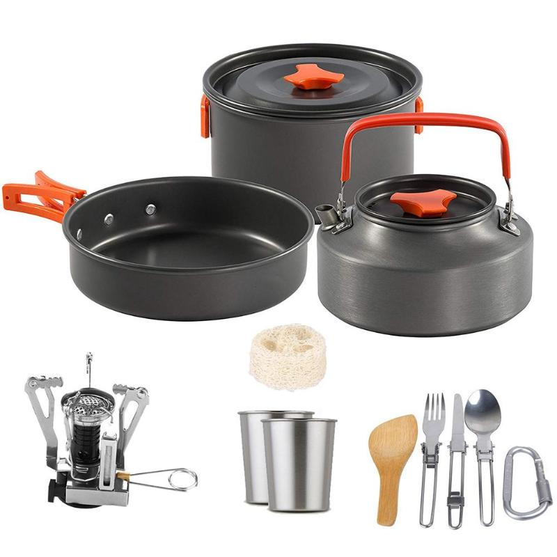 1set Outdoor Pots Pans Camping Cookware Picnic Cooking Set Non-stick Tableware With Stove Spoon Fork Knife Kettle For 2-3 Person