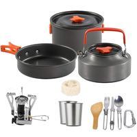1 комплект наружные Горшки Кастрюли для кемпинга кухонная посуда для пикника набор для приготовления пищи Антипригарная посуда с плитой Ло...