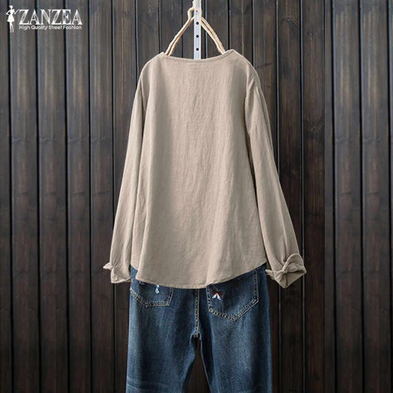 Льняная блузка размера плюс, Женская туника, топы 2019, ZANZEA, рубашки с длинным рукавом, женские рубашки на пуговицах, на шнуровке, повседневные блузы, одноцветная сорочка, Топ