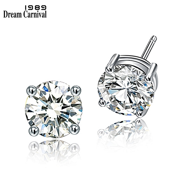 DreamCarnival 1989 Round 925 Sterling Silver Stud Earrings for Women 4mm 6mm 7mm Brincos Daily Jewelry Wholesales Gifts SE07245