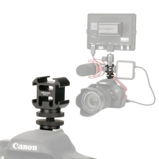 Ulanzi 0951 Hot Shoe adapter do montażu na aparacie przedłużacz do Canon Pentax lustrzanka cyfrowa do mikrofonu Monitor światło led do kamery