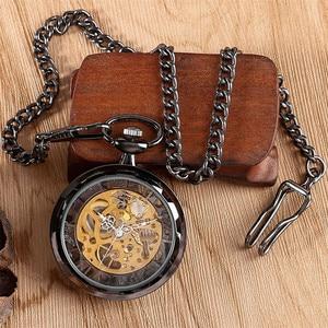 Image 5 - Relógio de bolso de luxo preto retro com corrente de bolso 30 cm esqueleto mecânico mão enrolamento relógio de bolso reloj de bolsillo