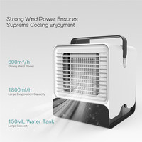 Portable Electric Air Conditioner Fan Mini Personal Water Cooling Fan Bladeless Table Air Cooler Moistener Office Home Kitchen