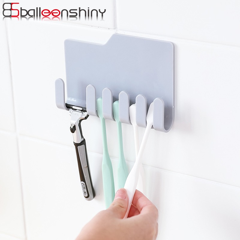 Balleenshiny Abs Storage Rack Wall Mounted Adhesive Toothbrush Shaver Hanger Umbrella Phone Charger Organizer Gadgets Holders