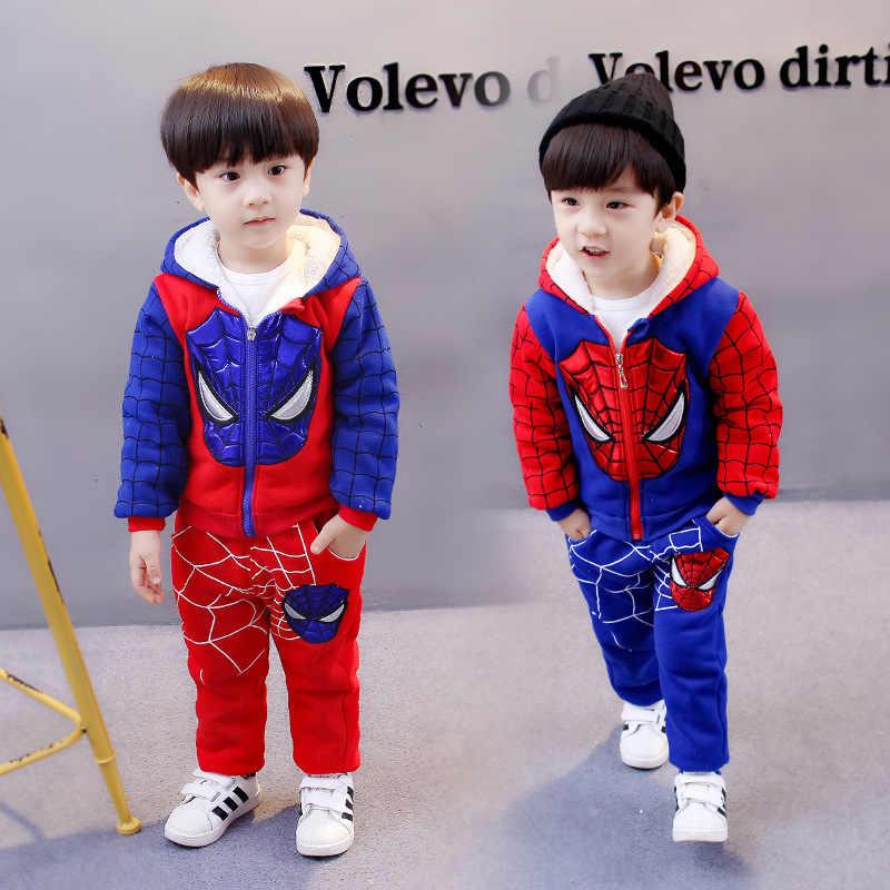 2018 зимняя одежда, костюм для мальчиков 1-4 лет, утепленный вельветовый свитер для девочек, два комплекта теплой детской одежды