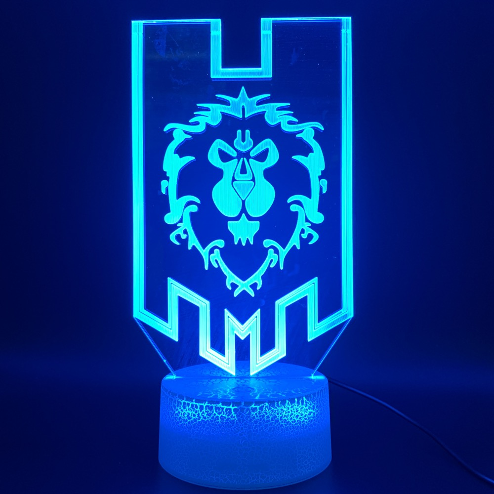 3d Optical Led Night Light Lamp Game World Of Warcraft Lion Flag Office Room Decorative Lamp Birthday Gift For Kid Child Bedroom