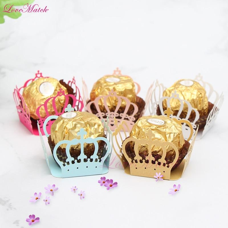 50pcs/lot Laser Cut Crown Heart Candy Bar Box Kid Birthday Party Chocolate Bar Wedding Baby Shower Party Candy Box Wedding Favor