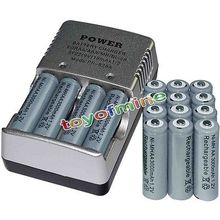 16x AA battery batteries Bulk Rechargeable NI MH 3000mAh 1 2V Grey Smart Charger