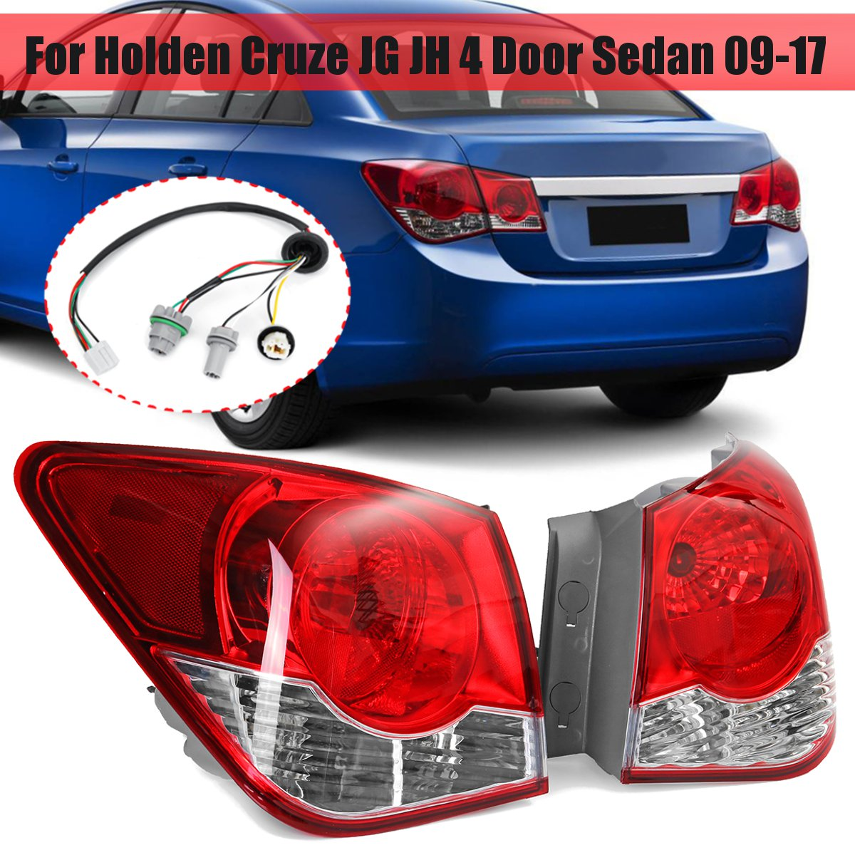 medium resolution of 2 rear tail light with wire harness for holden cruze jg jh 4 door sedan 2009 2017 brake lamp for toyota tacoma