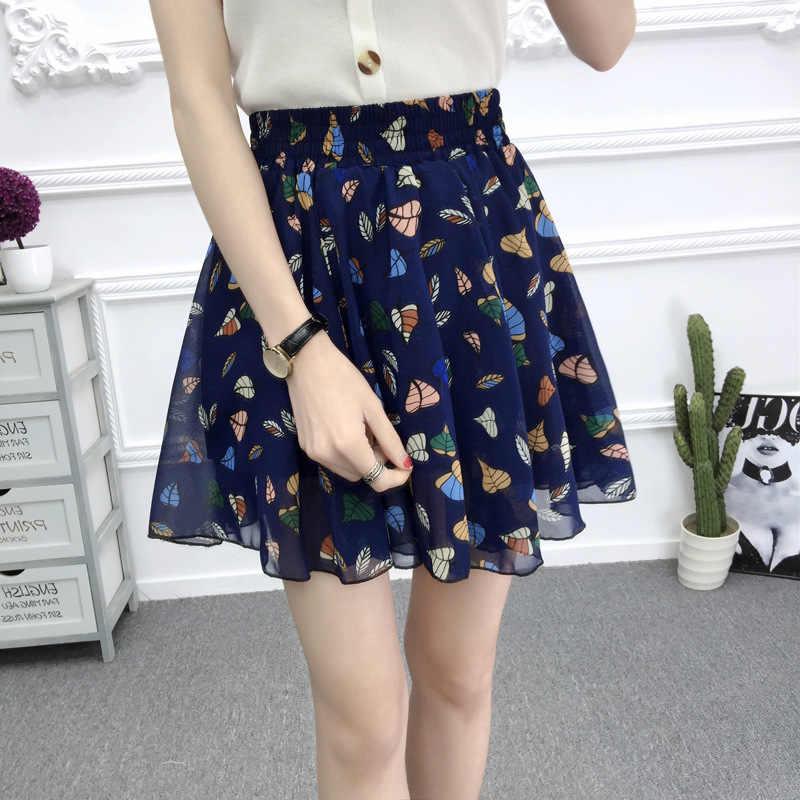 9afa4a987f580 ... Summer 2018 chiffon women skirt flower printed korean style skirts  women high waist beach short skirt ...