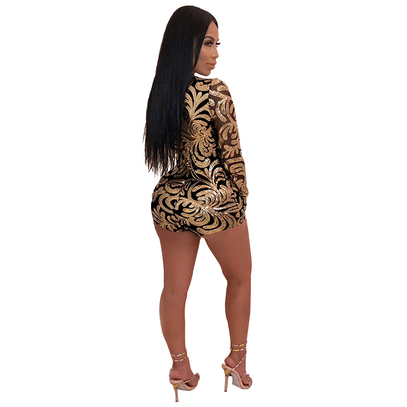 3704796aa1 Sequin Playsuit Women V neck Sparkly Jumpsuit Shorts Long Sleeve Romper  Autumn Spring Sexy Party Overalls Combinaison Femme-in Rompers from Women s  Clothing ...