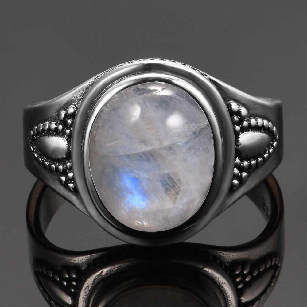 Top Quality Newest Solid 925 Sterling Silver Jewelry 8x10MM Natural Rainbow Moonstone Gemstone Rings Luxury Jewelry Size 6-10