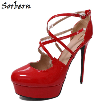 Sorbern Sexy Thick High Heel Shoes Platform For Women Shoes Pumps Custom White Pumps Women Heels Shoes Autumn 2018 Red Shoes
