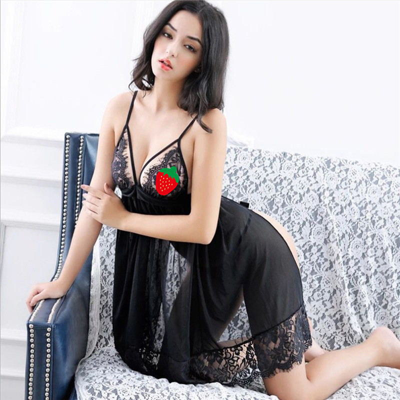 Women\'S Sexy Lingerie Perspective Lace Exotic Apparel Lingerie+Thongs S-XL Sexy Babydoll Chemise Backless Sling Nightdress