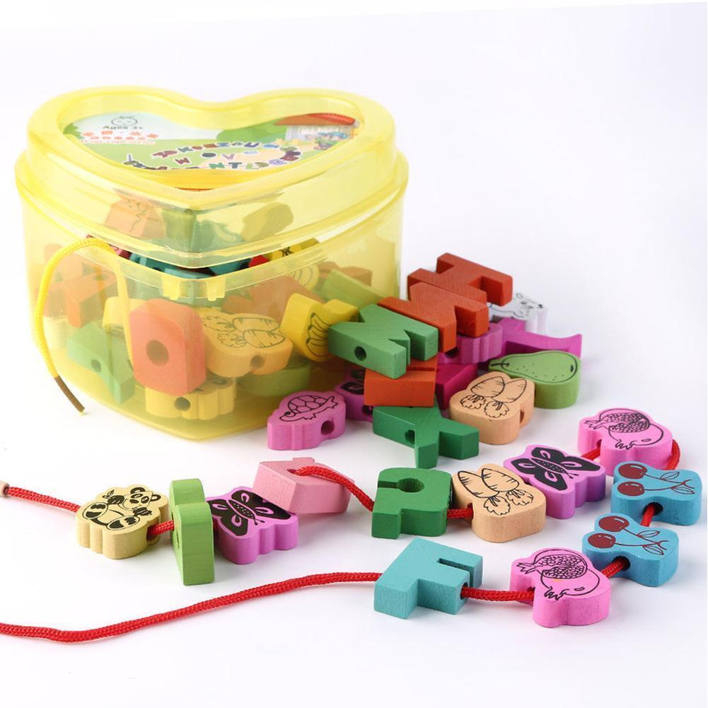 2019 Baby Wooden Toys Cartoon Lacing Wooden Threading Beads Game Education Top 25pcs Sets For Children Gift