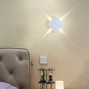 Image 2 - Led 벽 램프 머리맡 램프 침실 거실 벽 램프 현대 간단한 크리 에이 티브 복도 호텔 크로스 스타 벽 빛 ac85 265v