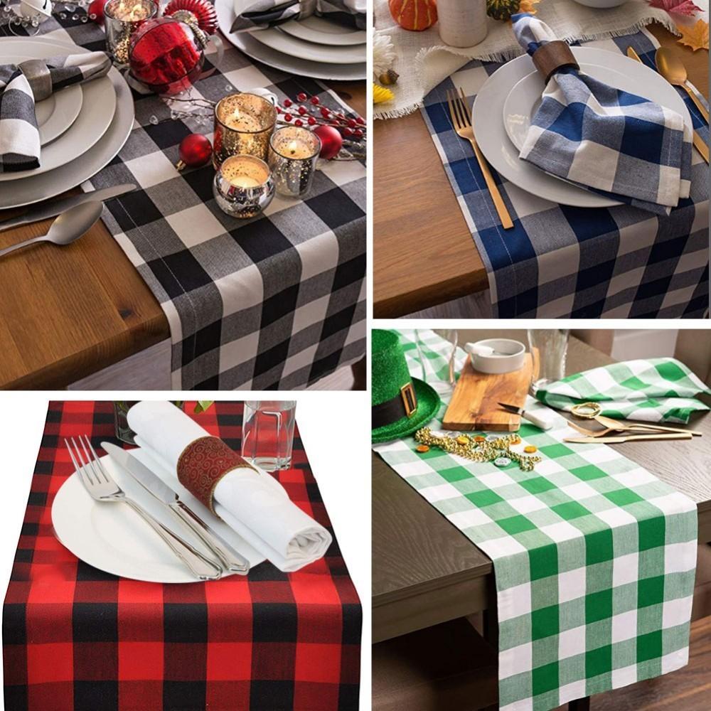 30x180cm Buffalo Plaid Burlap Christmas Table Runner Napkin Christmas Table Decoration Lumberjack Themed Birthday Party Decor
