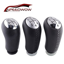 SPEEDWOW 1Pcs Leather Gloss Matt 5 Speed Car Gear Shift Knob Head Stick Gear Shifter