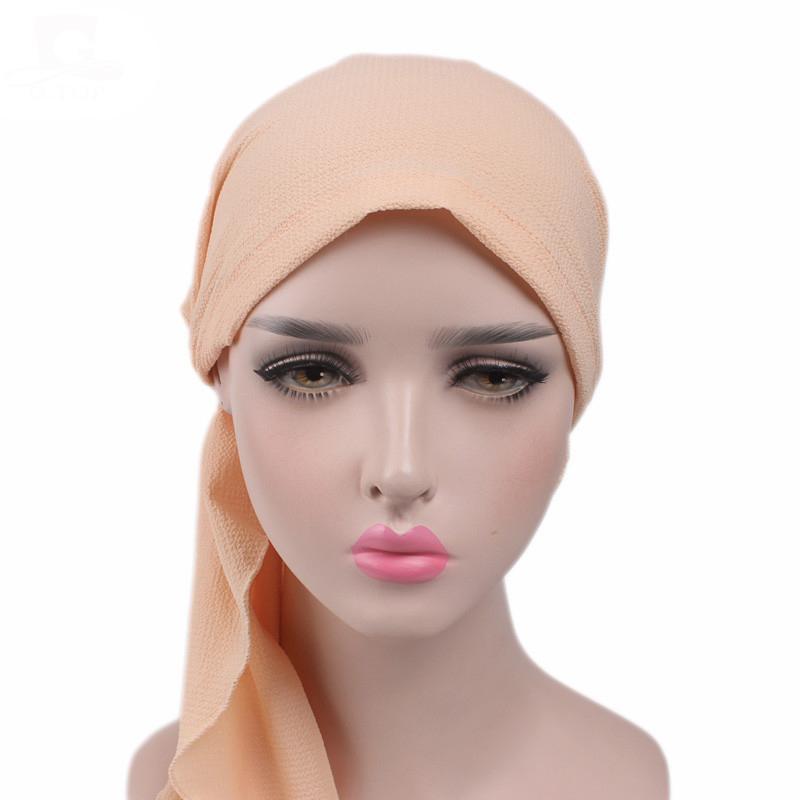 Image 2 - Women Stretch Bonnet Muslim Turban Hats Beanie Skullies Headscarf  Wrap Chemo Lady Bandana Caps Underscarf Islamic Hair Loss CapWomens  Skullies